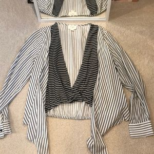 Anthro Everly Stripe Cardigan Style Blouse Small